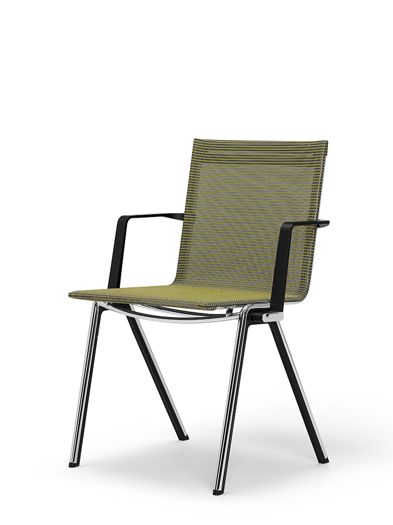 BLAQ chair with arm rests | continuous seat and back | tropical green