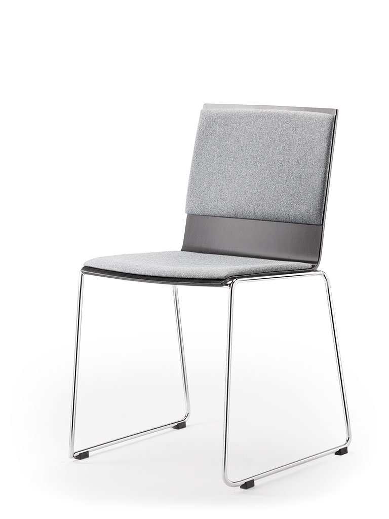 Eless skid-base chair | upholstered seat and back
