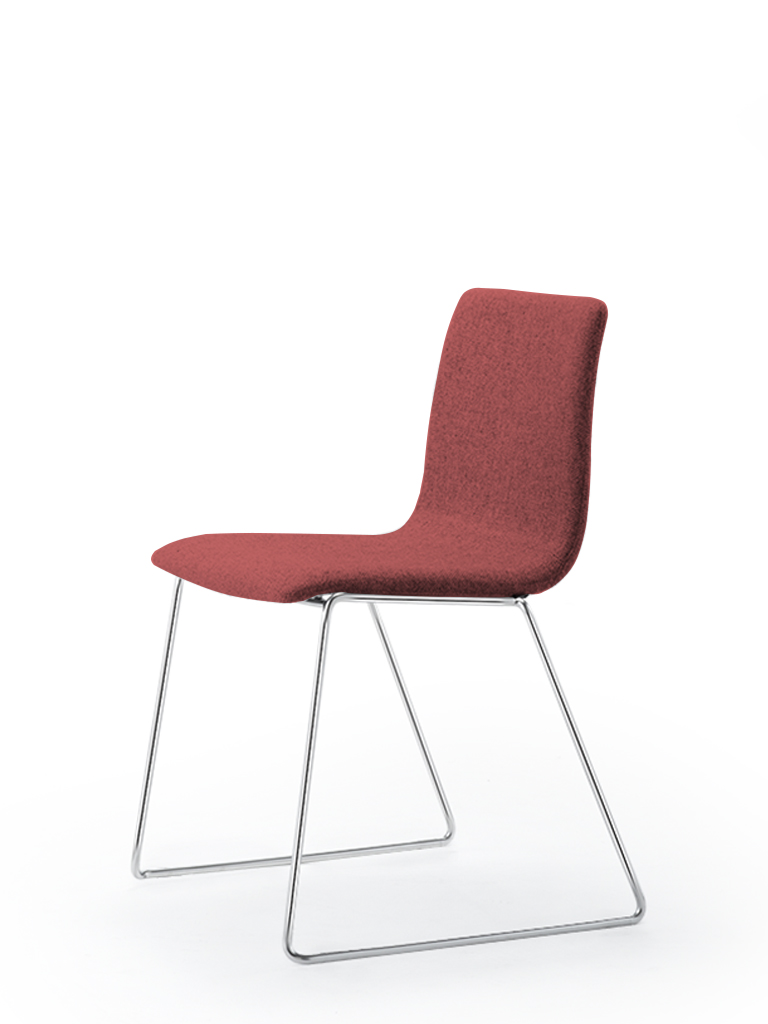 Eless s172 | skid-base chair | red upholstery